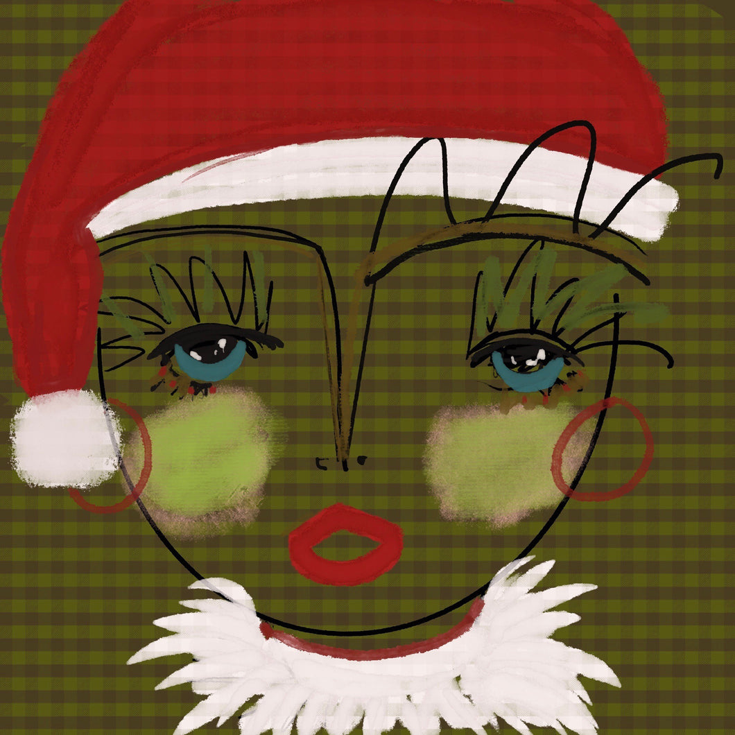 Holiday Chica (green) - Mini Grasscloth Print