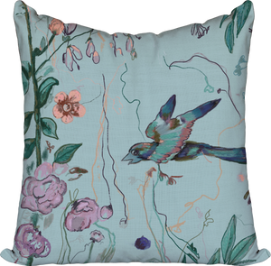 Birds of a Feather Aqua — Pillow Cover