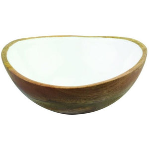 Mango Wood & Enamel Bowl (2 Sizes)