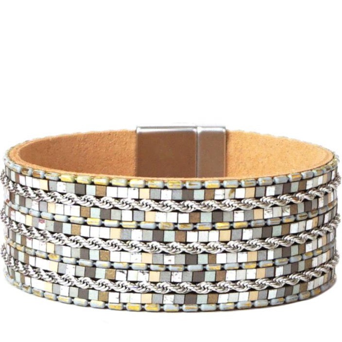 Patterned Tile Magnetic Bracelet