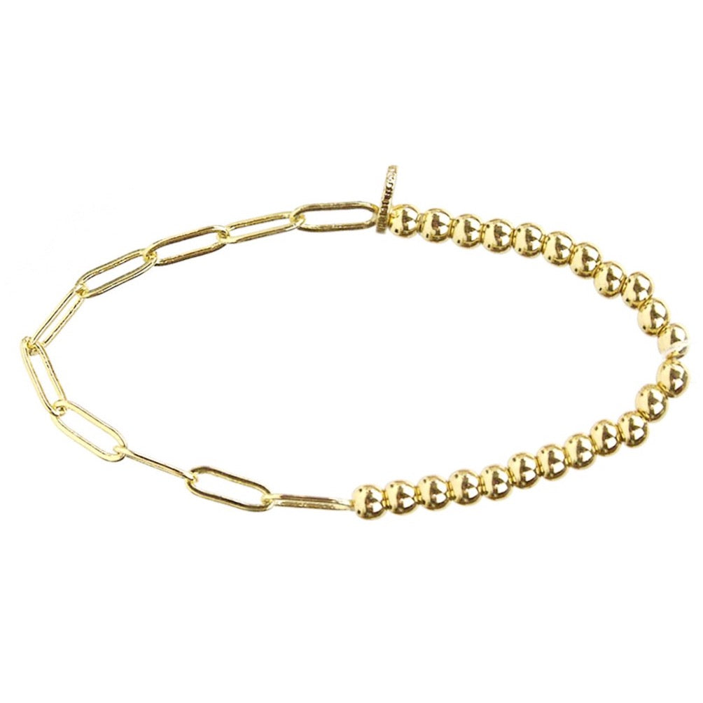 Bead And Link Bracelet (Gold or Silver)