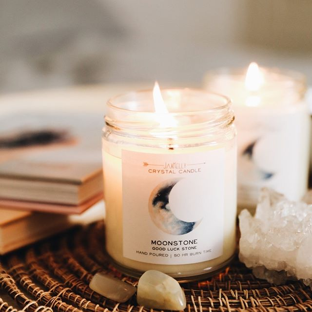 Moonstone Crystal Candle