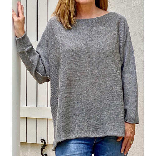 Grey cotton viscose boatneck tunic, long-sleeved with drop shoulder, casual  women's tunic. and everyday basic
