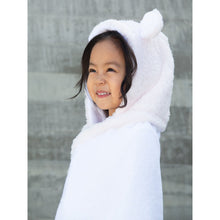 Load image into Gallery viewer, Little Giraffe hooded baby towel of white terry cloth cotton with Luxe plush hood and trim in pastel pink, blue, or cream. Plush hood has adorable ears on top to make bath time more fun