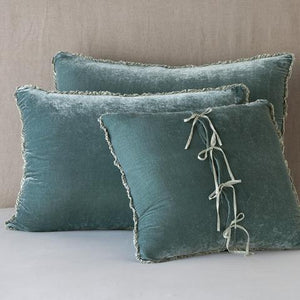 Bella Notte Linens Carmen Deluxe Sham in Eucalyptus - a large rectangular Blue/Green Velvet sham, perfect for anchoring the bed