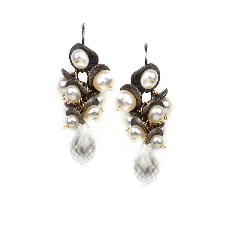 Pearl with Quartz Drop Earrings