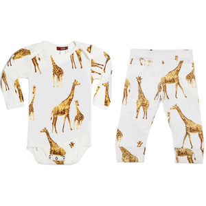 Milkbarn Orange Giraffe Bamboo Onesie & Leggings Set