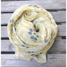 Load image into Gallery viewer, Cotton Gauze Floral Scarf (Blue or Yellow Print)