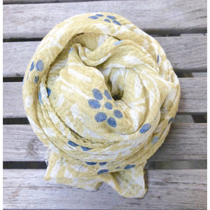 Cotton Gauze Floral Scarf (Blue or Yellow Print)