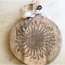 Load image into Gallery viewer, Sunflower Wooden Cheese Board Set