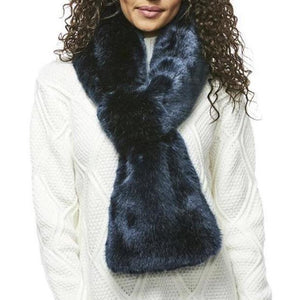 Blue Faux Mink Loop Scarf