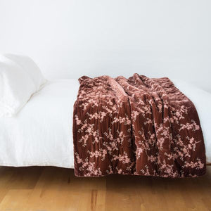 Bella Notte Linens Lynette Silk Velvet Comforter, Elegant Floral  pattern embroidered across rich silk velvet background, in an array of colors.. Rosegold is a rich dark mauve color, with lighter pink embroidered floral pattern scattered across.