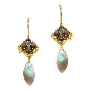 Clover Earring with Labradorite Drop