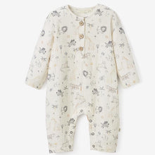 Load image into Gallery viewer, Safari Print Organic Muslin Baby Jumpsuit