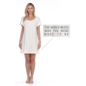 PJ Harlow Snozi T-Shirt dress, soft cotton, pale straw color, short sleeves and crew neck