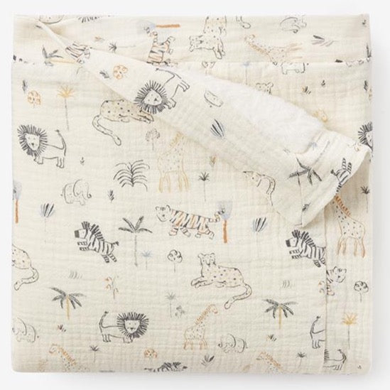 Safari Print Baby Blanket with Fur Backing