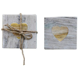 Marble Coasters (Set of 4) with Wood Heart