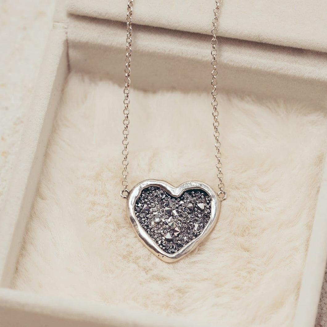 Guided by Heart Silver Necklace