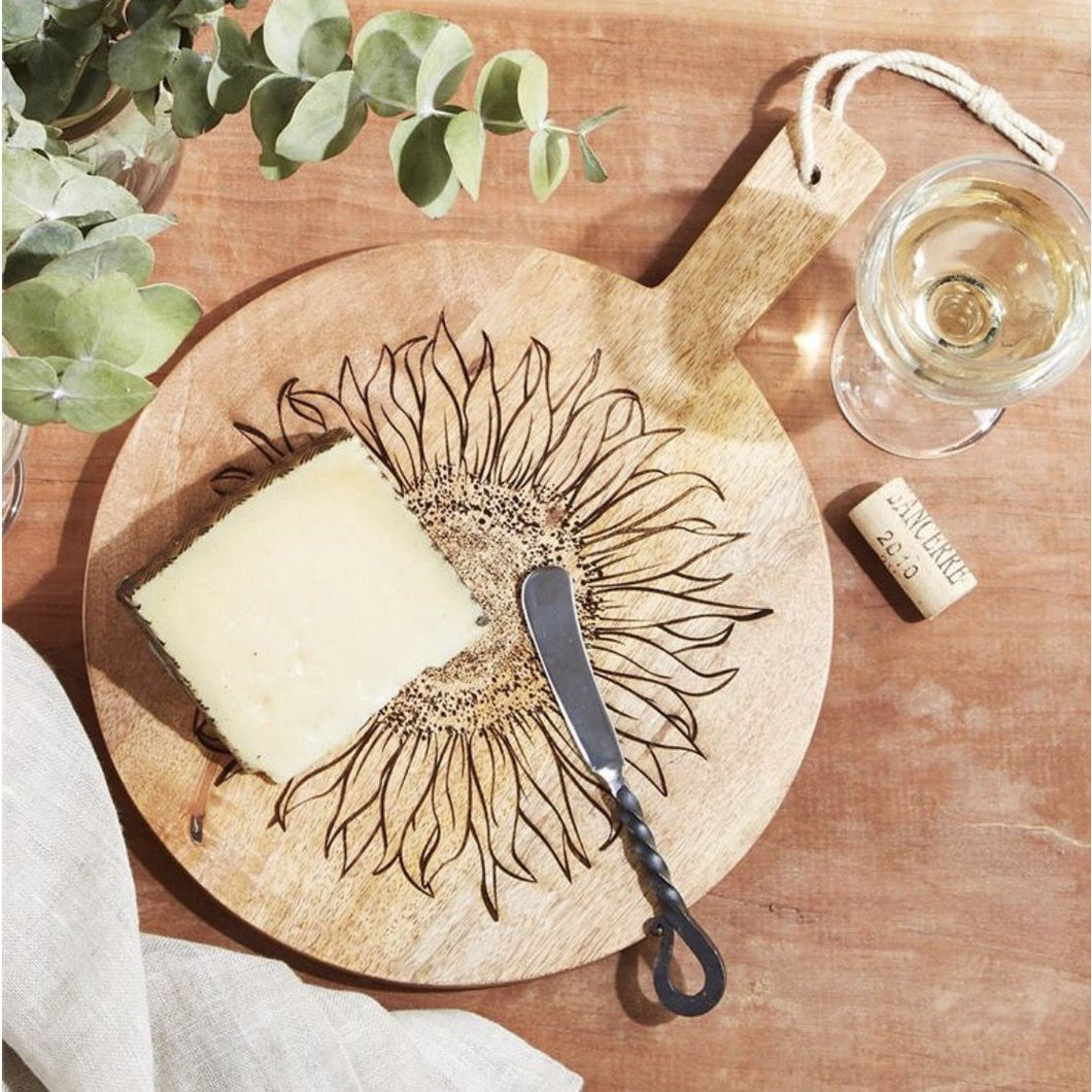 Sunflower Wooden Cheese Board Set
