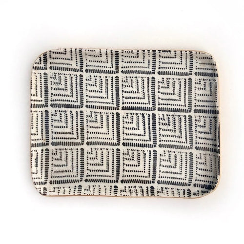 Terrafirma Ceramics tidbit tray, a handmade rectangular ceramic plate  in ivory with charcoal pattern and unique glazed finish.  Artisan made in NYC