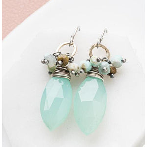 Chalcedony Earrings with Gemstone Accents