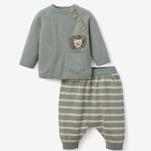 Lion Knit Sweater & Pant Baby Gift Set