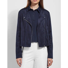 Load image into Gallery viewer, Essential Vegan Suede Jacket, Navy