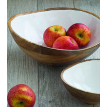 Load image into Gallery viewer, Mango Wood & Enamel Bowl (2 Sizes)