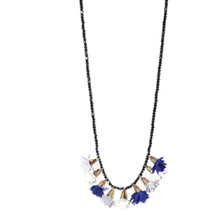 Beaded Flower Tassel Necklace