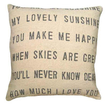 "Load image into Gallery viewer, Sugarboo You Are My Sunshine Linen Pillow, Square 24"" x 24"" down filled rustic stonewashed linen pillow for farmhouse cottage decor."