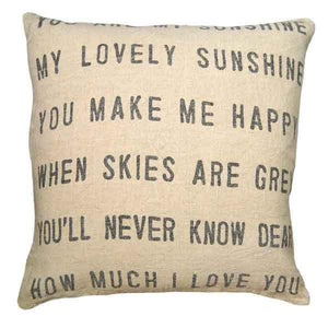 "Sugarboo You Are My Sunshine Linen Pillow, Square 24"" x 24"" down filled rustic stonewashed linen pillow for farmhouse cottage decor."