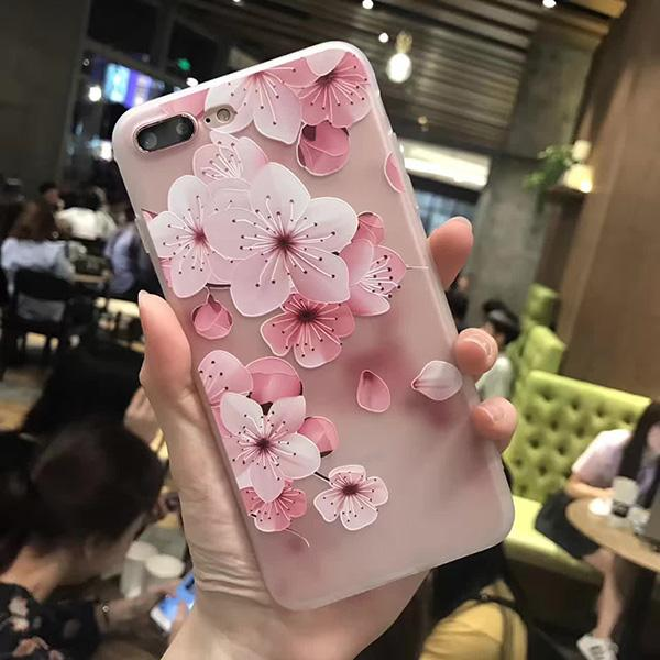 3D Relief Peach Lace Flowers Phone Case