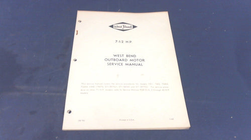 1965 West Bend Outboards 782 Service Manual 7-1/2HP - Used