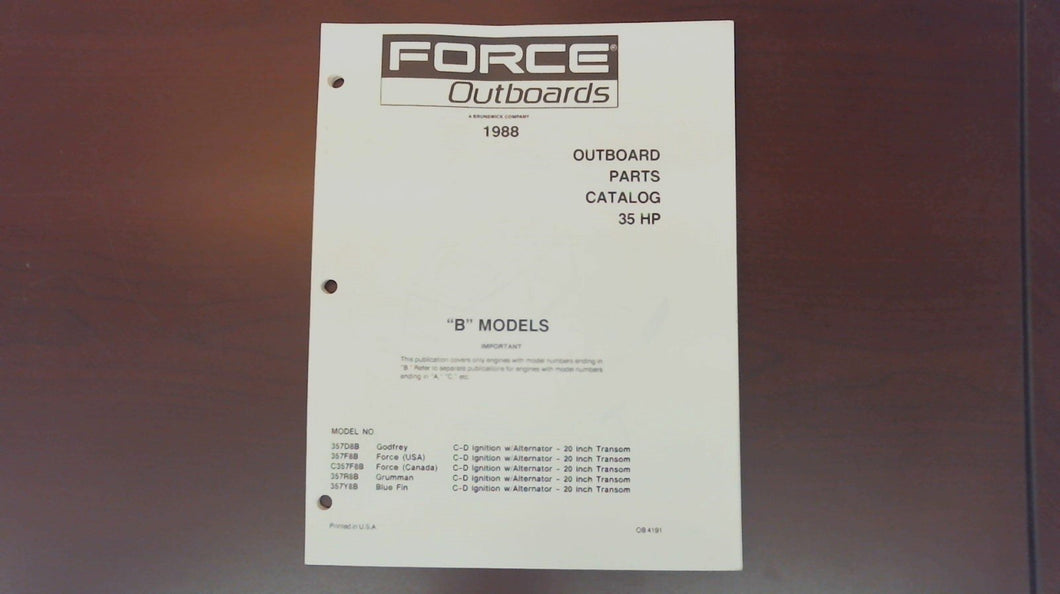 1988 Force Outboards 35HP 357D8B 357F8B 357R8B 357Y8B Parts Catalog - Used