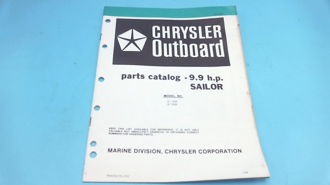 1979 Chrysler Outboard 9.9 H.P. Sailor 91 H0B 91 B0B Parts Catalog - Used