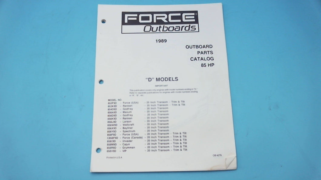 1989 Force Outboards 85HP D Models Parts Catalog - Used