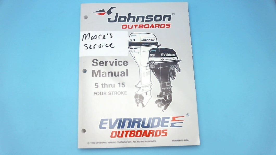 1996 Johnson Outboards Service Manual 5 Thru 15 HP Four Stroke - Used