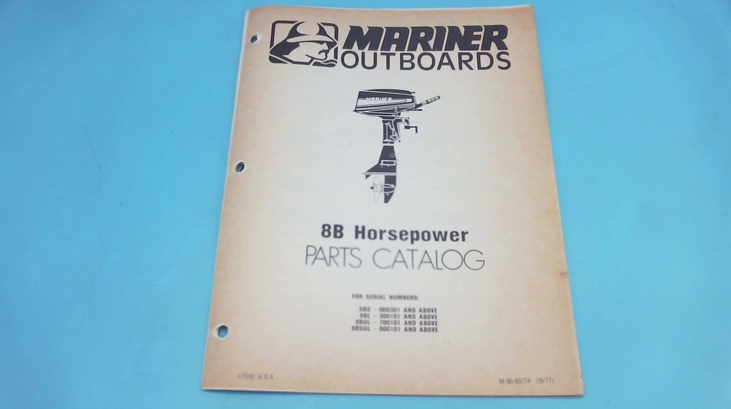 1977 Mariner Outboards 8B Horsepower Parts Catalog - Used