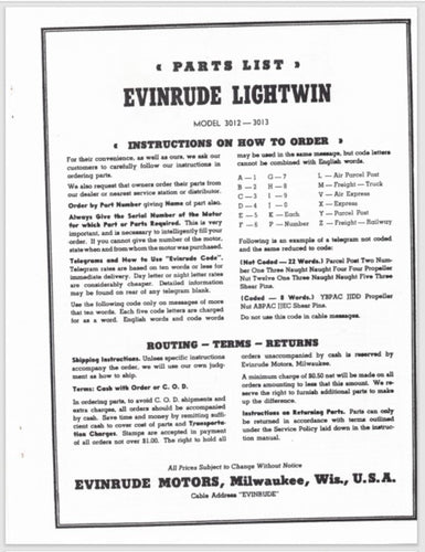 1952-1954 Evinrude 3 HP Lightwin 3012 3013 Parts Catalog