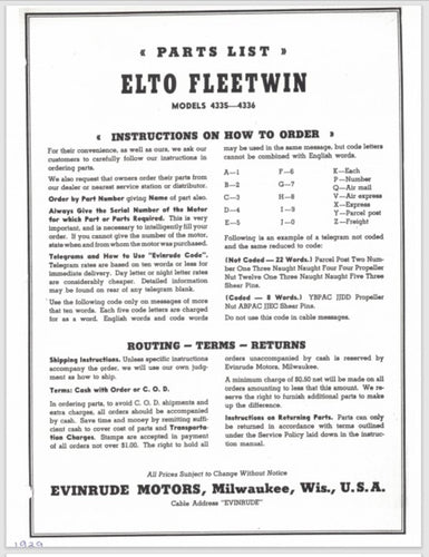 1939-1941 Evinrude Elto 8.5 HP Fleetwin 4335 4336 Parts Catalog