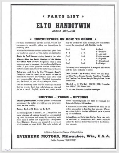 1940 Evinrude Elto Handitwin 3 HP 4357 4358 Parts Catalog