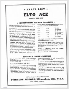 1940-1941 Evinrude Elto 1.8 HP Ace 4351 4352 Parts Catalog
