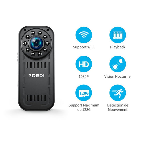 Camera Espion, FREDI 1080P HD Mini Camera WiFi, Caméra de Surveillance Sans Fil Avec Infrarouge de Vision Nocturne,Détection de Mouvement,Support Maximum de 128G pas Inclus