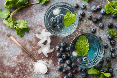 Two herbal cocktails with blueberries
