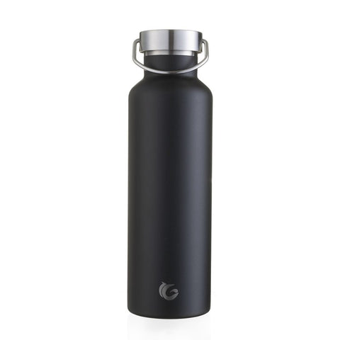 One Green Bottle Insulated Reusable Water Bottle 600ml Black