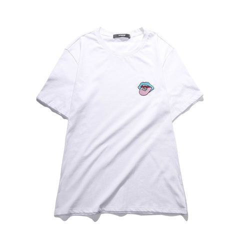 VIISHOW Men T-shirts Casual O Neck White Short Sleeves T-shirt With Tongue Embroidery For Men's Summer Cotton Tops Tees TD1358182
