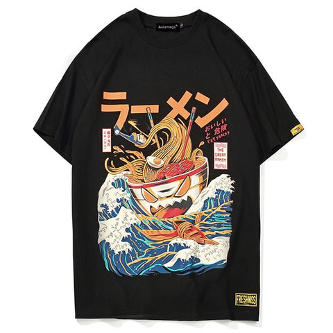 Aolamegs T Shirt Men's Japanese Cartoon Printed Men's Tee Shirts O-neck T Shirt Cotton Fashion High Street Couple Tees Streetwear