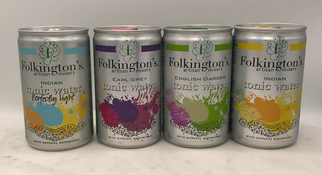 Folkington's Tonic Water 150ml can fridge pack of 8  *available for local delivery only*