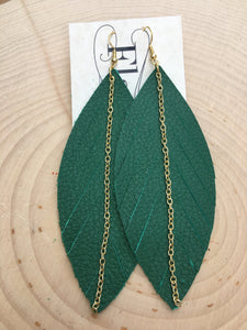 Green Feathers with Chain