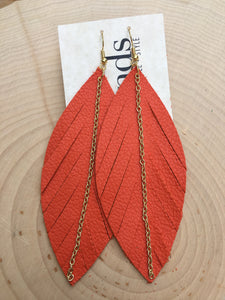 Orange Feathers with Gold Chain